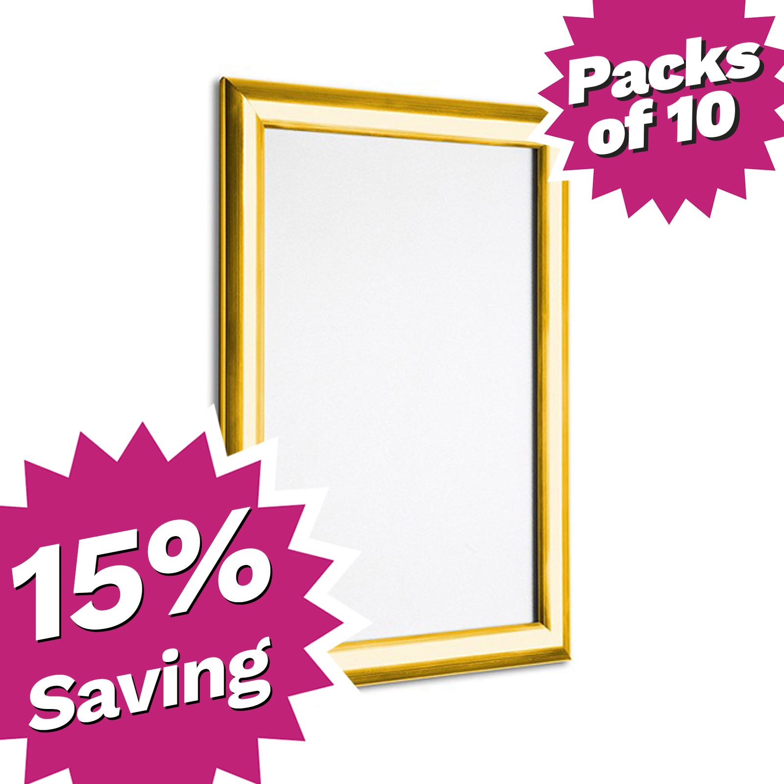 Pack of 10 - A4 & A3 Polished Gold Snap Poster Frames - Saving of 15%