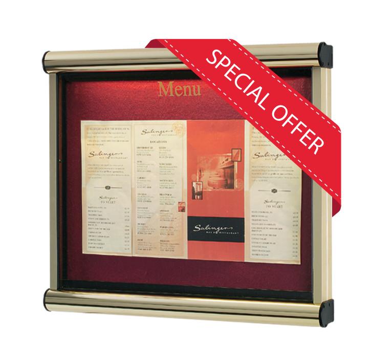 A2 size Wall mounted Gold Frame with Burgundy Felt External lockable Menu Case