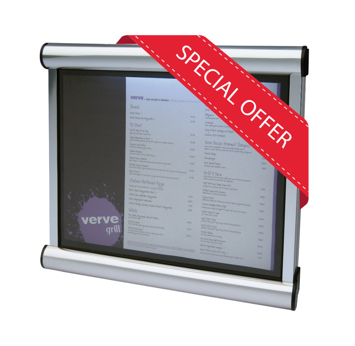 A2 size Wall mounted Silver Frame with Black Felt External lockable Menu Case