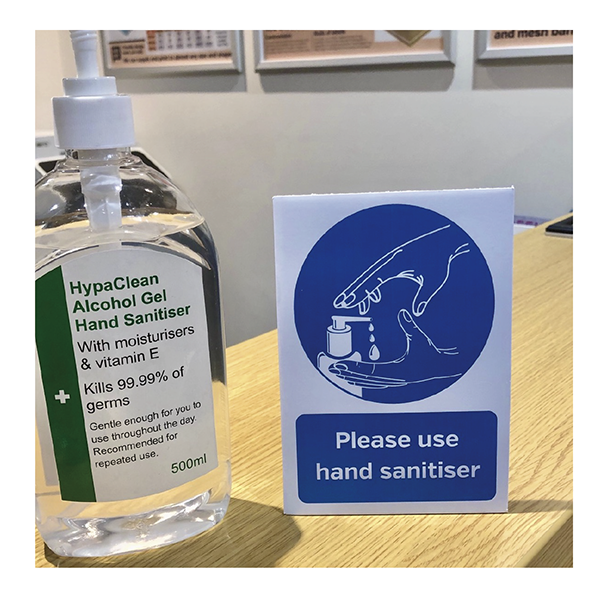 Please use hand sanitiser provided countertop freestanding sign