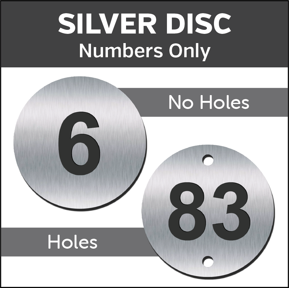 Silver Engraved table / locker number discs