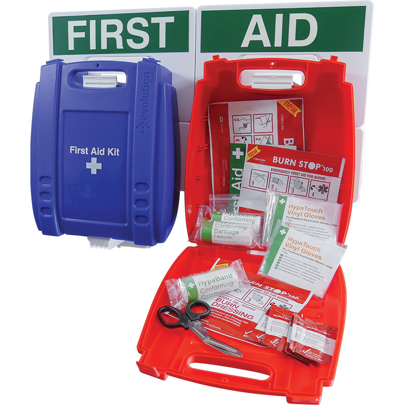 Wall mounted Evolution Catering First Aid & Burns Station, Small (Blue Case)