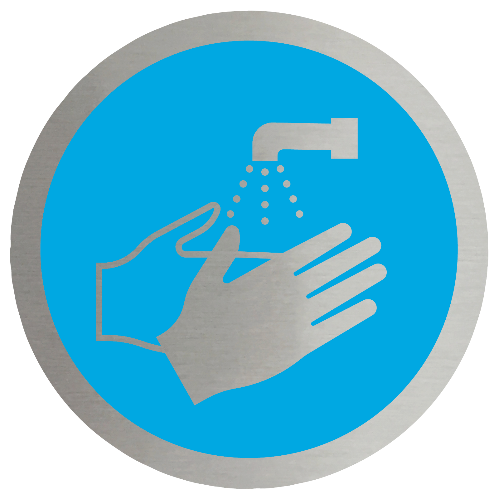 Wash Your Hands Symbol Stainless Steel Disc Catersigns Limited