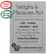35ml Weights & Measures Act - Spirit Measures Bar Notice