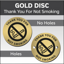 Thank You For Not Smoking 38mm Gold Engraved table discs