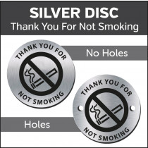Thank You For Not Smoking 38mm Silver Engraved table discs