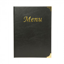 A4 Black Gloss Leather Style Menu Holder - Size 32 x 22 cm