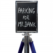 A4 Chrome Rope Barrier Sign Holder