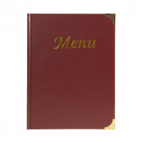 A4 Wine Red Gloss Leather Style Menu Holder - Size 32 x 22 cm