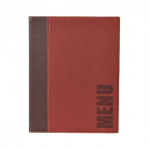 Trendy Wine Red Leather Style A5 Restaurant Menu Holder / Menu Cover