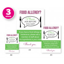 Food Allergy? Customer Allergen Awareness Please Ask Before You Eat Pub & Cafe Notice Comes with 2 options for displaying