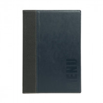 Trendy Blue Leather Style A4 Restaurant Menu Holder