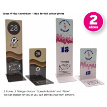 Branded Full Colour Allergy Awareness Table Numbers. Suitable for Pubs, Cafes and Restaurants