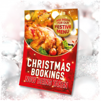 Christmas Bookings now being taken waterproof poster. Sizes available A3, A2 & A1