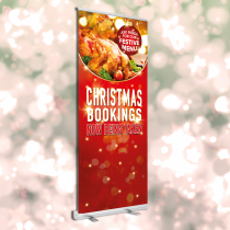 Ask inside to see our Festive menu roller banner. 850x2000mm