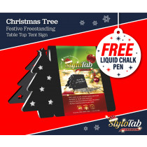Christmas Tree stylotab Festive Freestanding table top tent sign