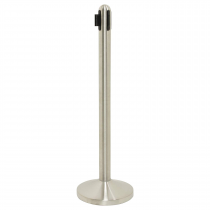 Chrome Retractable Black Belt Barrier Post