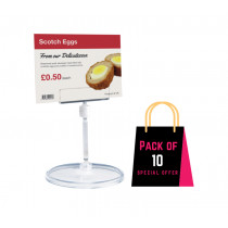 Clear Acrylic cafe Deli ticket card holder with 90mm height stand base. Pack of 10