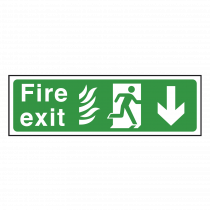 NHS Fire Exit Sign Arrow Down