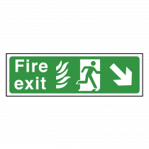 NHS Fire Exit Sign Down Right