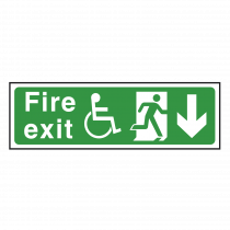 Wheelchair Fire Exit Sign Arrow Down