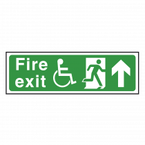 Wheelchair Fire Exit Sign Arrow Up
