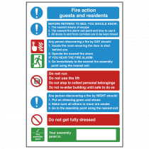 Guests and Residents - Fire Action Safety Sign