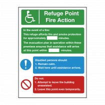 Refuge Point Fire Action Safety Sign