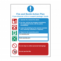 Fire and Bomb Action Safety Sign