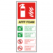 AFFF Foam Fire Extinguisher Sign