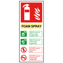 Foam Spray Non-Electrical Fire Extinguisher Sign