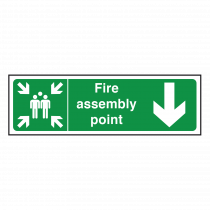 Fire Assembly Point Sign Arrow Down