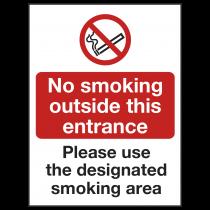 No Smoking Outside Entrance Use Designated Area Sign