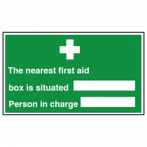 Nearest First Aid Box Person in Charge Sign