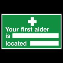 Nearest First Aider Sign