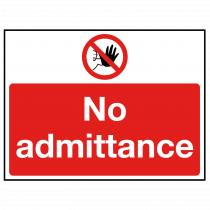 No Admittance with hand stop symbol sign