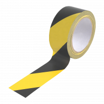Yellow and Black Hazard Social Distancing Floor Tape. 50mm x 33 metres