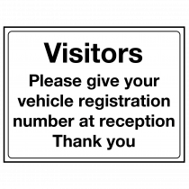 Visitors Give Reg to Reception Sign