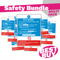Detailed Premises Fire Action Safety Sign - Bundle Pack