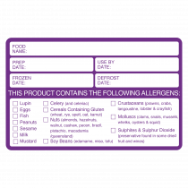 Food Preparation / Allergen Warning Labels. (500 labels per roll)