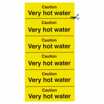 Caution Hot Water Strip of 6 Notices