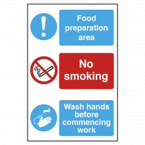 Food Preparation Area, No Smoking, Wash Hands Sign