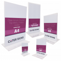 Clear Acrylic Double Sided Counter Top Poster Holders