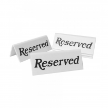 Reserved table tent notices. Pack of 5 (Black / White)