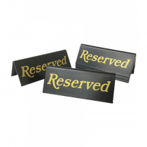 Reserved table tent notices. Pack of 5 (Gold / Black)