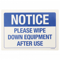 Please Wipe Down Equipment After Use Notice