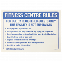 Fitness Centre Rules Sign