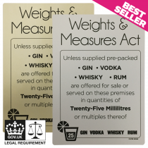 25ml Weights & Measures Act  -  Spirit Measures Bar Notice