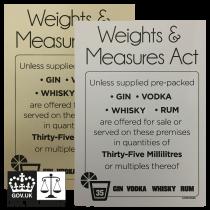 35ml Weights & Measures Act - Spirit Measures Bar Notice