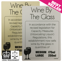 Wine By The Glass 175ml & 250ml - Weights & Measures Act Bar Sign